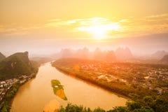 Paisagem de Yangshuo no nascer do sol Fotografia de Stock