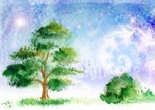 Paisagem desenhada ilustração royalty free