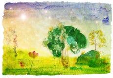 Paisagem desenhada da aguarela ilustração stock