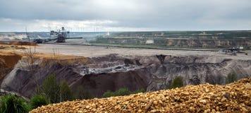 Paisagem destruída no lignite da mineração opencast de Garzweiler, surfa imagens de stock