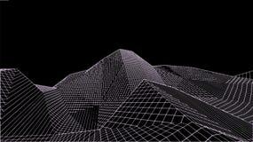 Paisagem digital abstrata Fundo da paisagem de Wireframe Dados grandes ilustração futurista do vetor 3d Fotografia de Stock Royalty Free