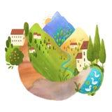 Paisagem digital bonita com montanhas, casas e longo caminho ilustração do vetor