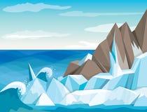 Paisagem do Antarctic da ilustração do vetor Fotografia de Stock Royalty Free