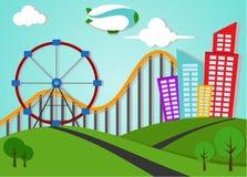 Paisagem do Applique do parque e da cidade do metro Ilustração do Vetor