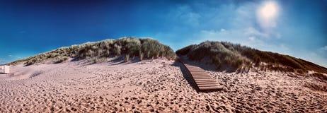 Paisagem do beira-mar do verão com dunas de areia Costa de Mar do Norte Imagem de Stock Royalty Free