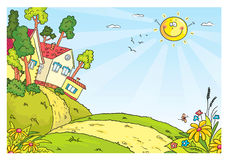 Paisagem do campo com montes e casas ilustração stock