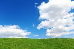 Paisagem do campo de grama no dia ensolarado brilhante Beleza da natureza Imagem de Stock Royalty Free