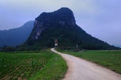 Paisagem do campo de Quang Binh com montanha surpreendente Imagem de Stock Royalty Free