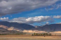 Paisagem do campo do outono de Beatuful no fundo das montanhas e do céu azul claro brilhante Fotografia de Stock