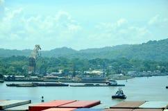 Paisagem do canal do Panam? fotografia de stock