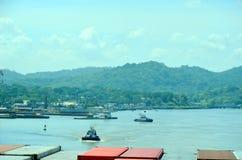 Paisagem do canal do Panam? imagem de stock