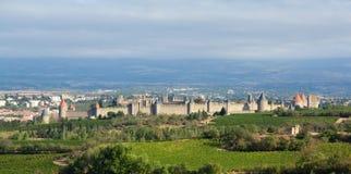 Paisagem do castelo de Carcassonne Imagem de Stock