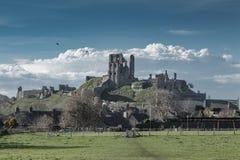 Paisagem do castelo de Corfe Foto de Stock