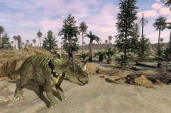 Paisagem do Centrosaurus Foto de Stock Royalty Free