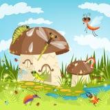 Paisagem do conto de fadas com insetos engraçados ilustração royalty free
