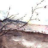 Paisagem do custo do rio da árvore do outono da mola da aquarela Fotos de Stock