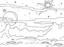 Paisagem do desenho de esboço de um planeta com crateras e rochas Estrelas da galáxia, planeta grande e satélite em um fundo ilustração do vetor