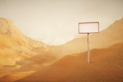 Paisagem do deserto com singboard Imagem de Stock
