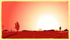 Paisagem do deserto de Grunge Fotografia de Stock Royalty Free