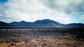 Paisagem do deserto, Lanzarote, Ilhas Canárias imagem de stock