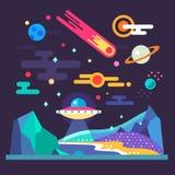 Paisagem do espaço Sistema solar Relevo do planeta Fotos de Stock Royalty Free