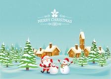 Paisagem do Feliz Natal Vetor Fotos de Stock