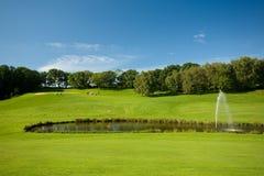 Paisagem do golfe com uma lagoa Foto de Stock