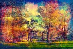 Paisagem do grunge da arte que mostra a floresta velha no dia de mola ensolarado Foto de Stock