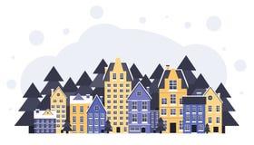 Paisagem do inverno Cartaz do ano novo e do Natal inverno na vila Noite de Natal Vetor liso ilustração royalty free