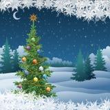 Paisagem do inverno com árvore de Natal ilustração royalty free