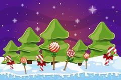 Paisagem do inverno com árvore de Natal Fotografia de Stock