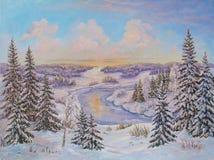 Paisagem do inverno com as árvores na neve em uma lona Pintura a óleo original ilustração do vetor
