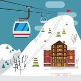 Paisagem do inverno com estância de esqui, teleférico do esqui e hotéis Foto de Stock