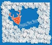 A paisagem do inverno com flocos de neve e os cervos dirigem no estilo de papel Fundo para um cartão do convite ou umas felicitaç ilustração do vetor