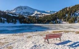 Paisagem do inverno com lago congelado Imagens de Stock