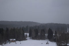 Paisagem do inverno com montanhas altas Fotos de Stock Royalty Free