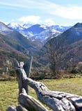 Paisagem do inverno com montanhas nevados, a cerca de madeira e o vale verde Lugo, Espanha imagem de stock