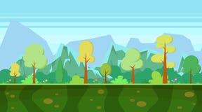 Paisagem do inverno com mountainBackground para apps dos jogos Paisagem da natureza dos desenhos animados com floresta e montanha Imagem de Stock Royalty Free