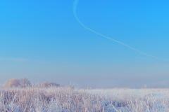 Paisagem do inverno com neve Imagens de Stock