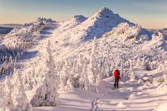 Paisagem do inverno com o esquiador nas montanhas Fotografia de Stock