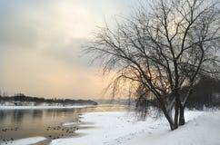 Paisagem do inverno com o rio em Rússia imagens de stock
