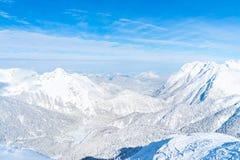 Paisagem do inverno com os cumes cobertos de neve em Seefeld, Áustria foto de stock royalty free