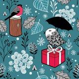 Paisagem do inverno com pássaros e elementos congelados da natureza Imagens de Stock