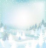 Paisagem do inverno com árvores Imagem de Stock