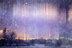 Paisagem do inverno da noite fotografia de stock royalty free