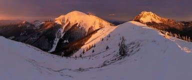 Paisagem do inverno de montanhas altas de Tatra no vale frio pequeno após a queda de neve fresca Tempo ventoso e frio alto de Tat fotos de stock royalty free