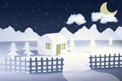 Paisagem do inverno do corte do papel Foto de Stock Royalty Free
