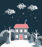 Paisagem do inverno dos desenhos animados, com casa e monte da neve Ilustração do vetor fotos de stock royalty free