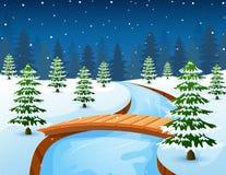 Paisagem do inverno dos desenhos animados com floresta e a ponte de madeira pequena sobre o rio Fotos de Stock Royalty Free