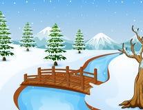 Paisagem do inverno dos desenhos animados com montanhas e a ponte de madeira pequena sobre o rio Fotos de Stock